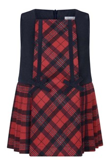 Girls Tartan Red/Navy Sleeveless Dress
