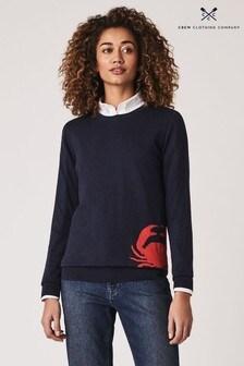 סוודר Intarsia כחול בהדפס סרטן של Crew Clothing