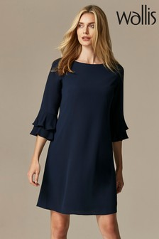 Wallis Navy Double Flute Sleeve Dress