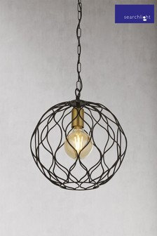 Hollow 1 Light Round Pendant by Searchlight