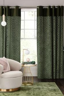 Khaki Green Cut Velvet Geometric Eyelet Blackout/Thermal Curtains