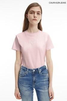 Calvin Klein Jeans Pink Monogram Logo T-Shirt