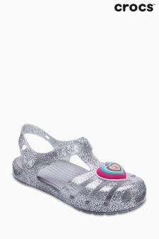 Crocs™ Silver Glitter Isabella Heart T-Bar Sandal
