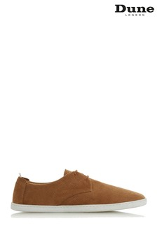 Dune Mens Tan Perforated Gibson Trainer