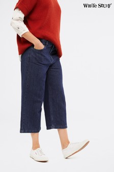 White Stuff Blue Belle Denim Crop Wide Leg Jeans