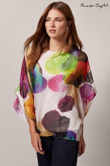 Phase Eight White Emiko Print Silk Blouse