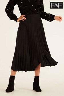 F&F Black Pleated Wrap Skirt