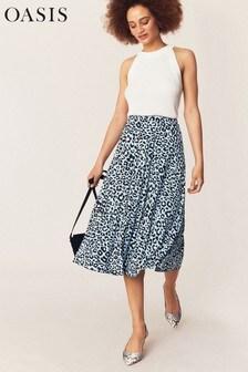Oasis Blue Leopard Pleated Skirt