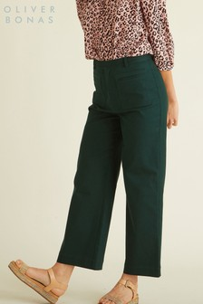 Oliver Bonas Green Wide Leg Trousers