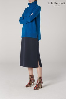 L.K.Bennett Blue Sissi Wool And Cashmere Funnel Jumper