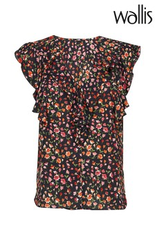 Wallis Black Floral Print Ruffle Top