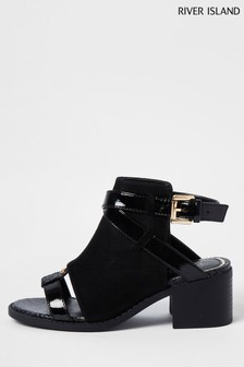 River Island Black Stud Shoe Boots