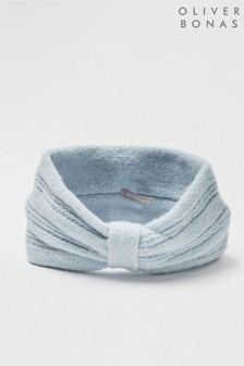 Oliver Bonas Stitch Detail Blue Knitted Headband