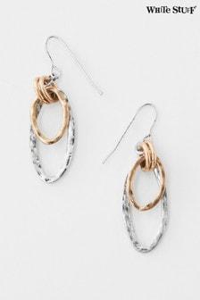 White Stuff Metallic Double Oval Drop Earrings