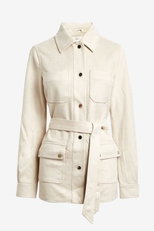 Faux Suede Belted Shacket