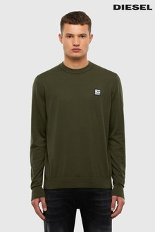 Diesel® Khaki Long Sleeve Crew Neck T-Shirt