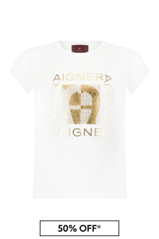Aigner Girls White Cotton T-Shirt