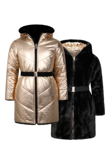 Girls Gold/Black Reversible Padded Coat