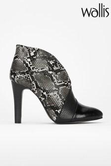 Wallis Black Parker Mix Skin Shoe Boots