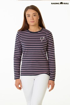 Raging Bull Pink Stripe Long Sleeve T-Shirt
