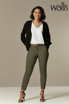 Wallis Khaki Belted Cigarette Trousers