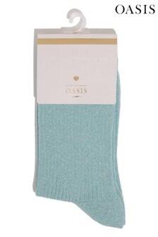 Oasis Blue Glitter Socks