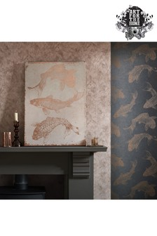 Set of 3 Rose Gold Koi Carp Canvases by Art For The Home