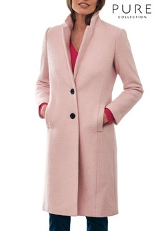 Pure Collection Pink Boiled Wool Blend Midi Coat