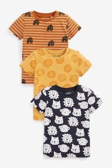 3 Pack Jungle Animal T-Shirt (3mths-7yrs)