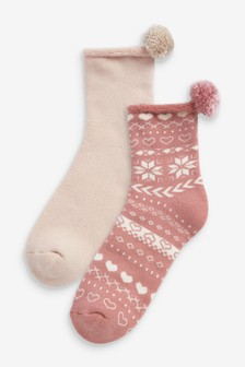 Pom Pom Cosy Bed Socks Two Pack