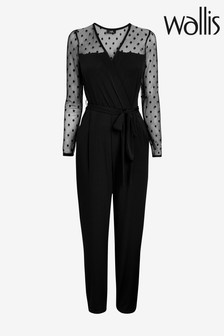 Wallis Black Polka Dot Mesh Wrap Jumpsuit