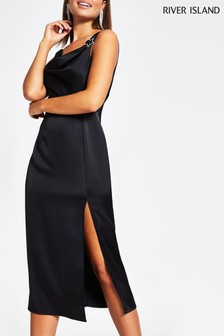 River Island Black Cowl Star Midi Slip Dress