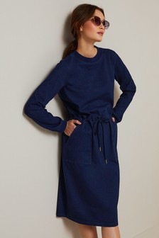 Drawstring Jersey Denim Midi Dress