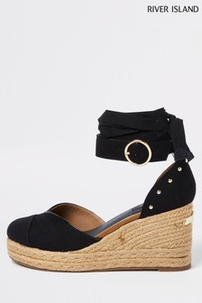 River Island Black Tie Up Espadrille Shoes