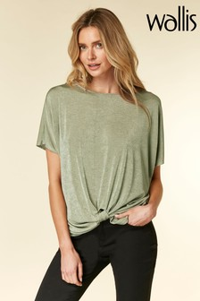 Wallis Green Khaki Slinky Knot Front Top