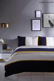 Karen Millen Colourblock Stripe Cotton Duvet Cover and Pillowcase Set