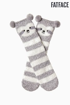 FatFace Grey Fluffy Sloth Socks