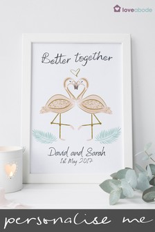 Personalised Flamingo Framed Wedding Print by Loveabode