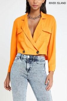River Island Orange Cropped Shirt
