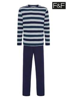 F&F Natural Stripe Waffle Pyjama Set