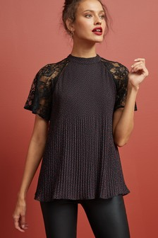 Lace Sleeve Pleat Top