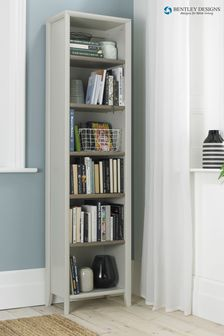 Bergen Grey Washed Oak Soft Grey Narrow Bookcase by Bentley Designs