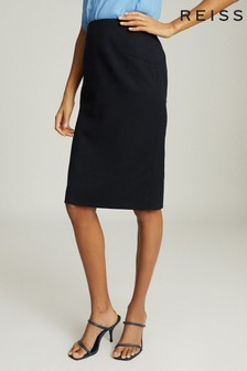 Reiss Blue Hayes Tailored Pencil Skirt