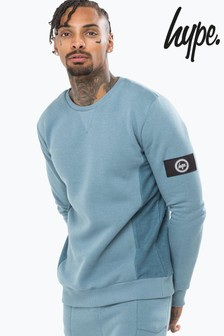 Hype. Petrol Insignia Loop Panel Men's Crew Neck Jumper
