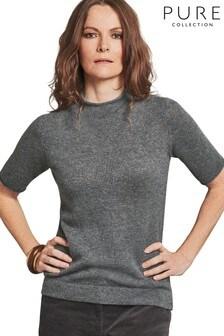 Pure Collection Grey Organic Gassato Cashmere T-Shirt