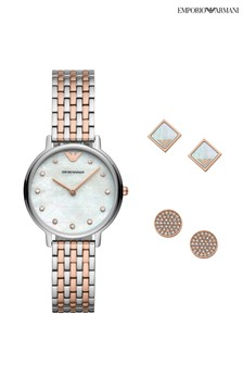 Emporio Armani Two Tone Set Quartz Watch