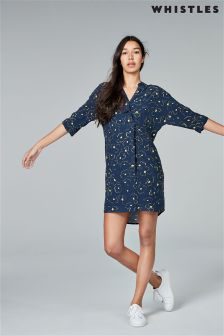 Whistles Navy Magnolia Print Dress