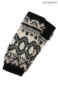 Accessorize Black Mono Fairisle Pattern Long Cut Off Gloves