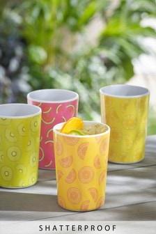 Set of 4 Fruit Print Melamine Tumblers