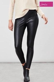Joules Black Faux Leather Harriet Leggings